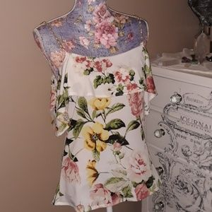 Sexy Floral Cold Should Pearl Strap Top NWT